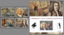 CENTRALAFRICA 2020 MNH Johan Sebastian Bach Composer Komponist Compositeur 4v+S/S - OFFICIAL ISSUE - DHQ2031 - Music