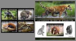 CENTRALAFRICA 2020 MNH Monkeys Affen Singes Endangered Species 4v+S/S - OFFICIAL ISSUE - DHQ2031 - Monkeys