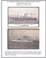 """""""ARGENTINA"""" PIROSCAFO COMPANIA LA VELOCE LINE. LOTE 2 CPA, CIRCA 1910's. ITALIE BATEAU BATELLO BOAT -LILHU - Embarcaciones"""