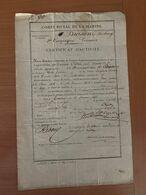 Corps Royal De La Marine - Division De CHERBOURG - Certificat D'activité 1833 - Documents Historiques