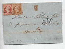 1856 - LETTRE Avec PC 89 D'ANNONAY (ARDECHE) Pour CHAMBERY (SAVOIE) Avec N° 13 & 16 - 1849-1876: Classic Period