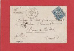 Algérie - CàD SEBDOU ALGERIE Sur Type Sage - LSC Vers Rions (Gironde) 1883 - Briefe U. Dokumente