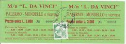 TRANSPORTATION TICKETS, MN  LEONARDO DA VINCI SHIP, ROUND TRIP TICKET, CASTLE STAMP, 1991, ITALY - Europe