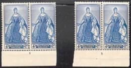D - [160180]TB//**/Mnh-Belgique 1949 - N° 820-pl1/2, Marie Christine, Planches 1/2, Personnages Historiques, Paires - ....-1960