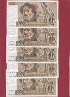 """100 Francs """"Delacroix"""" --16 Billets --état Voir Scan ---Années 1978/79/80/81/82/83/84/85/86/87/88/89/90/91/93/ Et 1995 - 1962-1997 ''Francs''"""