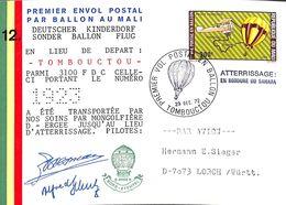 Premier Envol Postal Par Ballon Au Mali Tombouctou 1972 N°1923/3100 FDC + Carte (fixed Price) - Airships