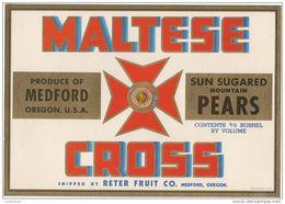 étiquette De Caisse De POIRES ( PEARS )  MALTESE  CROSS Medford Oregon USA  Reter Fruit CO. - Fruit En Groenten
