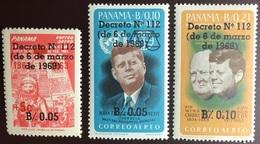 Panama 1969 Decree Set Of 3 Kennedy Churchill MNH - Panama