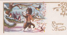 Cartes Postales Thèmes Illustrateur L Gougeon  Chat Humanisé  Chat Chef De Choral Bonne Année - Ante 1900