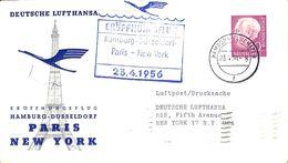 Deutsche Lufthansa Eröffnungsflug Hamburg Düsseldorf Paris New York 1956 (fixed Price) - Airplanes