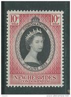 Nouvelles Hébrides N° 166  XX  Couronnement D'Elisabeth II  Légende Anglaise, Sans Charnière, TB - English Legend