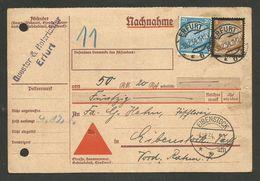 Karte Nachnahme ERFURT 03.12.1934 >>> EIBENSTOCK - Covers & Documents