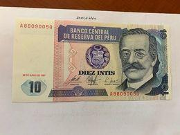 Peru 10 Intis Uncirc. Banknote 1987 #2 - Perù