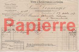 740 Vaucouleurs (55) Facture Vins Spiritueux Louis Denninger Pour  Vaucouleurs 1907 - Francia