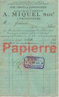 743 Vaucouleurs (55) Facture Fers Fonte Quincaillerie A. Miquel Succ. Pour  Vaucouleurs 1905 - Francia
