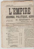"""JOURNAL BI HEBDOMADAIRE 4 PAGES """"L'EMPIRE LIBERAL"""" N°135 DU 9/01/1869 (Ce Journal N'est Pas Un Fac-similé) - 1850 - 1899"""