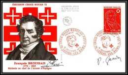 189 Lettre France Fdc (premier Jour) N°1736 Croix Rouge (red Cross) Signé (signed Autograph) Gandon - 1970-1979