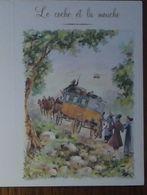 Petit Calendrier De Poche  2008 Illustration Fable De La Fontaine Le Coche Et La Mouche Diligence  Chevaux- 4 Volets - Calendari