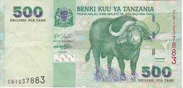BILLETE DE TANZANIA DE 500 SHILINGI DE UN BUFALO DEL AÑO 2003 (BANKNOTE) - Tanzania