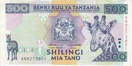 BILLETE DE TANZANIA DE 500 SHILINGI DEL AÑO 1997 (BANKNOTE) JIRAFA-CEBRA - Tanzania