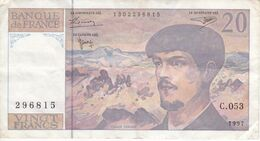 BILLETE DE FRANCIA DE 20 FRANCS DEL AÑO 1997 SERIE C.053   (BANKNOTE) CLAUDE DEBUSSY - 1962-1997 ''Francs''