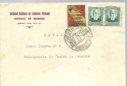 CARTA 1936 VIÑETA  CENSURA MILTAR  GRANADA FRANQUEO SELLOS REPUBLICA - 1931-50 Briefe U. Dokumente