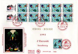 """"""" CROIX-ROUGE 1992  / L'ENTRAIDE """" Sur Enveloppe 1er Jour Grand Format N°tée. Avec Carnet Du N° YT 2783. Parf état FDC - Sonstige"""