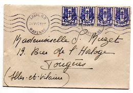 1945--Lettre De LAVAL-53 Pour FOUGERES-35, Tp Chaines Brisées 50c X4 ..Krag Laval-53 - 1921-1960: Modern Period