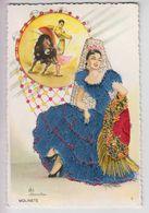 CPSM Espagne Brodée - Molinete - Illustrateur Elsi Gumier - Corrida, Robe Bleue, Mantille Blanche - Bordados