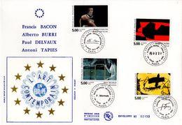""""""" BACON / BURRI / DELVAUX / TAPIES """" Sur Enveloppe 1er Jour Grand Format N°tée Sur Soie N° YT 2779 à 2782. Parf état FDC - Sonstige"""