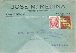 CARTA COMERCIAL 1937 VIÑETA   CENSURA GRANADA - 1931-50 Briefe U. Dokumente