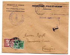 Taxe -1945-- Lettre Taxée Préfecture De  RENNES-35 Pour FOUGERES-35--composition De T-Taxes - Storia Postale