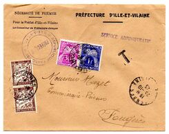 Taxe -1943-- Lettre Taxée Préfecture De  RENNES-35 Pour FOUGERES-35--composition De T-Taxes - Storia Postale