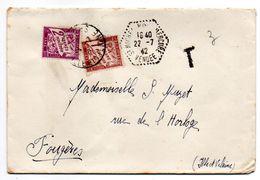 Taxe -1942-- Lettre Taxée De St MICHEL MONT MERCURE-85 Pour FOUGERES-35- Composition De Timbres-Taxes-cachet Hexagonal - Marcophilie (Lettres)