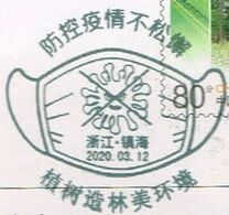 Postcard Stamped  Zhejiang Post Office Designed Special Slogan Chop Covid-19 Special Postal Slogan Chop Made By Mask - China