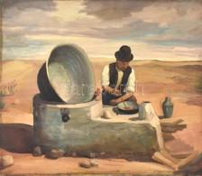 Jelzés Nélkül: Főzés A Pusztában. Olaj, Fa. 48,5×58 Cm - Unclassified
