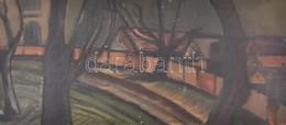 Jelzés Nélkül: Szentendre. Olaj, Farost, Hátoldalán Szentendrei Tulajdonos Régebbi Feliratával, 35x78 Cm - Unclassified