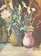 Jelzés Nélkül: Virágok Két Vázában. Színes Linómetszet, Papír. Üvegezett Fa Keretben, 26,5×21 Cm - Unclassified