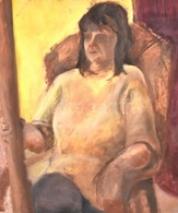 Jelzés Nélkül: Fotelben Pihenő. Olaj, Farost, 59,5×50 Cm - Unclassified