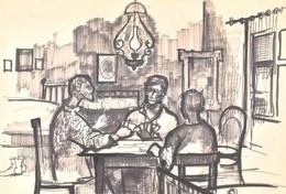 Jelzés Nélkül: Hárman Az Asztalnál, Kártyázók. Tus, Papír, Paszpartuban, 39,5x59,5 Cm - Unclassified