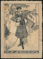 Jelzés Nélkül: Portré (1910-30 Körül). Tus, Papír, Foltos 16,5×11,5 Cm - Unclassified