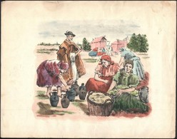 Jelzés Nélkül: Piac. Akvarellel Színezett Litográfia, Papír, Szélein Szakadásokkal és Foltokkal, Ca. 22x26 Cm - Unclassified