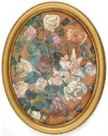 Jelzés Nélkül: Rózsák. Akvarell, Karton, Foltos, Fa Keretben 39x29 Cm - Unclassified