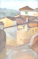 Jelzés Nélkül: Utcarészlet Lámpával. Olaj, Karton, üvegezett, Sérült Keretben, 20,5x13,5 Cm - Unclassified
