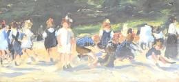 Jelzés Nélkül: Gyerekek. Olaj, Karton, Sérült üvegezett Keretben, 11,5x23,5 Cm - Unclassified