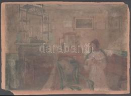 Jelzés Nélkül: Enteriőr Hölggyel. Akvarell, Papír, Kartonra Kasírozva, 25x35 Cm - Unclassified