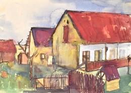 Jelzés Nélkül: Falusi Udvar. Akvarell, Papír, Paszpartuban, 32x46 Cm - Unclassified