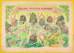 Olvashatatlan Jelzéssel: Robin Hood And The Teem Of Seerwood. Vegyes Technika, Papír, 42×60 Cm - Unclassified