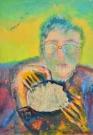 Olvashatatlan Jelzéssel: Férfi Portré Mitológiai Jelenettel. Vegyes Technika, Karton, 35x25 Cm - Unclassified