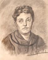 Jelzés Nélkül: Női Portré. Szénrajz, Papír (korabeli Vízjeles), Dátumozva (1904. Apr. 14), Paszpartuban, 54,5x43,5 Cm - Unclassified